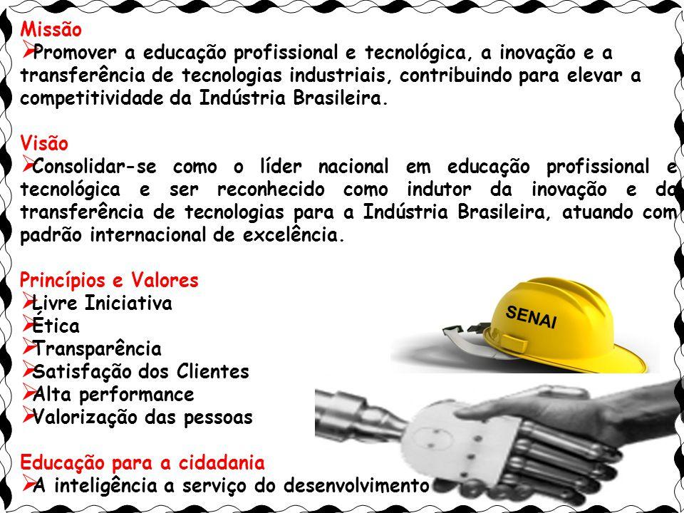 Zezé38 Missão  Promover a educação profissional e tecnológica, a inovação e a transferência de tecnologias industriais, contribuindo para elevar a competitividade da Indústria Brasileira.
