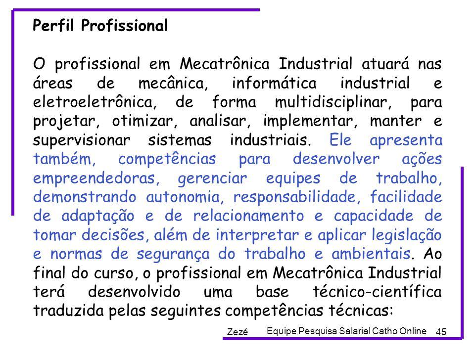 Zezé45 Perfil Profissional O profissional em Mecatrônica Industrial atuará nas áreas de mecânica, informática industrial e eletroeletrônica, de forma multidisciplinar, para projetar, otimizar, analisar, implementar, manter e supervisionar sistemas industriais.