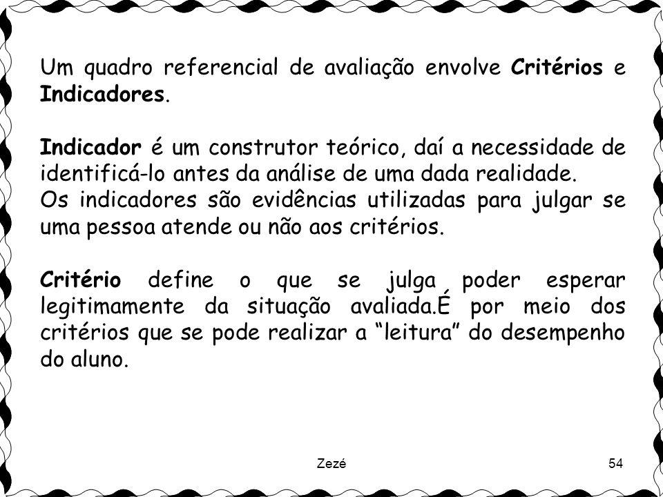 Zezé54 Um quadro referencial de avaliação envolve Critérios e Indicadores.