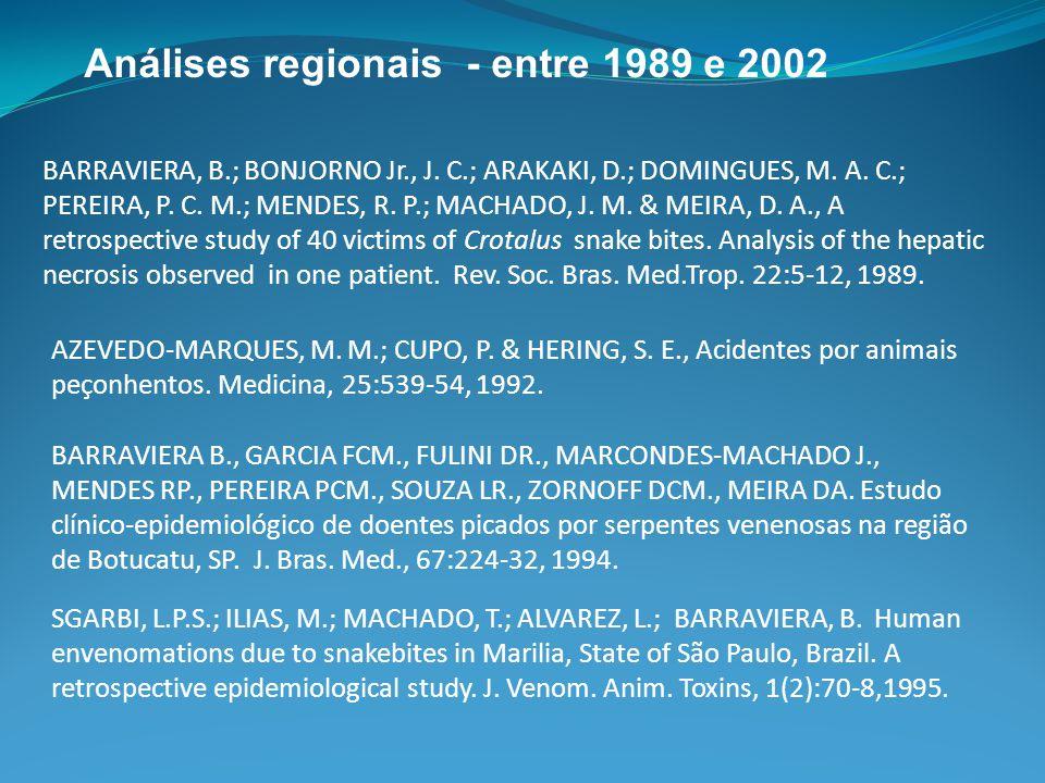 BARRAVIERA, B.; BONJORNO Jr., J. C.; ARAKAKI, D.; DOMINGUES, M. A. C.; PEREIRA, P. C. M.; MENDES, R. P.; MACHADO, J. M. & MEIRA, D. A., A retrospectiv