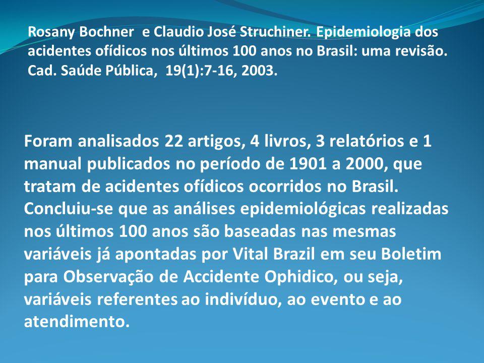 Foram analisados 22 artigos, 4 livros, 3 relatórios e 1 manual publicados no período de 1901 a 2000, que tratam de acidentes ofídicos ocorridos no Bra