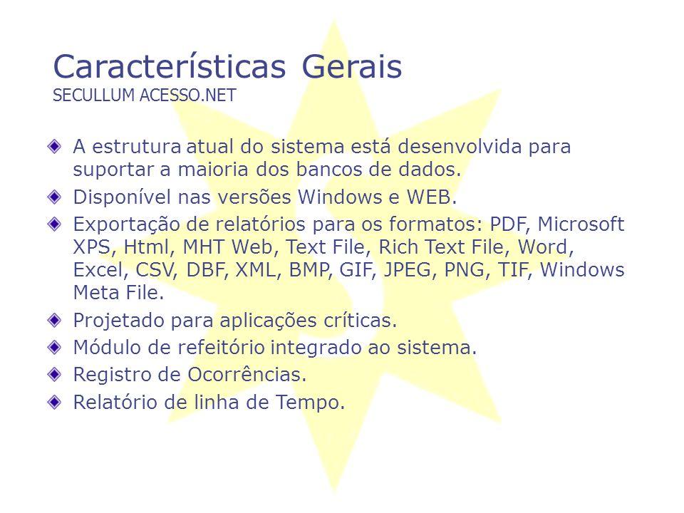 Tecnologias SECULLUM ACESSO.NET Controle de Acesso: Digitação de senha, Código de Barras, Proximidade, MiFare, Biometria. Circuito Fechado de TV – Câm