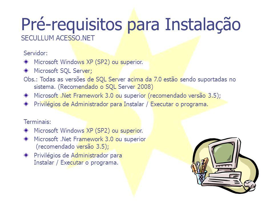 Níveis de Acesso SECULLUM ACESSO.NET Permite combinar horários diferenciados com catracas ou coletores diferenciados. Exemplo: João da Silva, poderá e