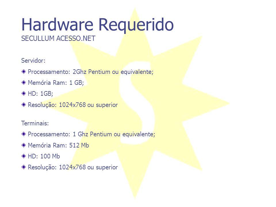 Pré-requisitos para Instalação SECULLUM ACESSO.NET Servidor: Microsoft Windows XP (SP2) ou superior. Microsoft SQL Server; Obs.: Todas as versões de S