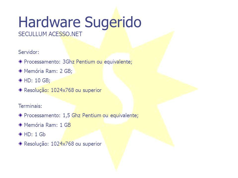 Hardware Requerido SECULLUM ACESSO.NET Servidor: Processamento: 2Ghz Pentium ou equivalente; Memória Ram: 1 GB; HD: 1GB; Resolução: 1024x768 ou superi