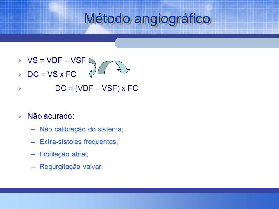 Método angiográfico VS = VDF – VSF DC = VS x FC DC = (VDF – VSF) x FC DC = (VDF – VSF) x FC Não acurado: –Não calibração do sistema; –Extra-sístoles frequentes; –Fibrilação atrial; –Regurgitação valvar.