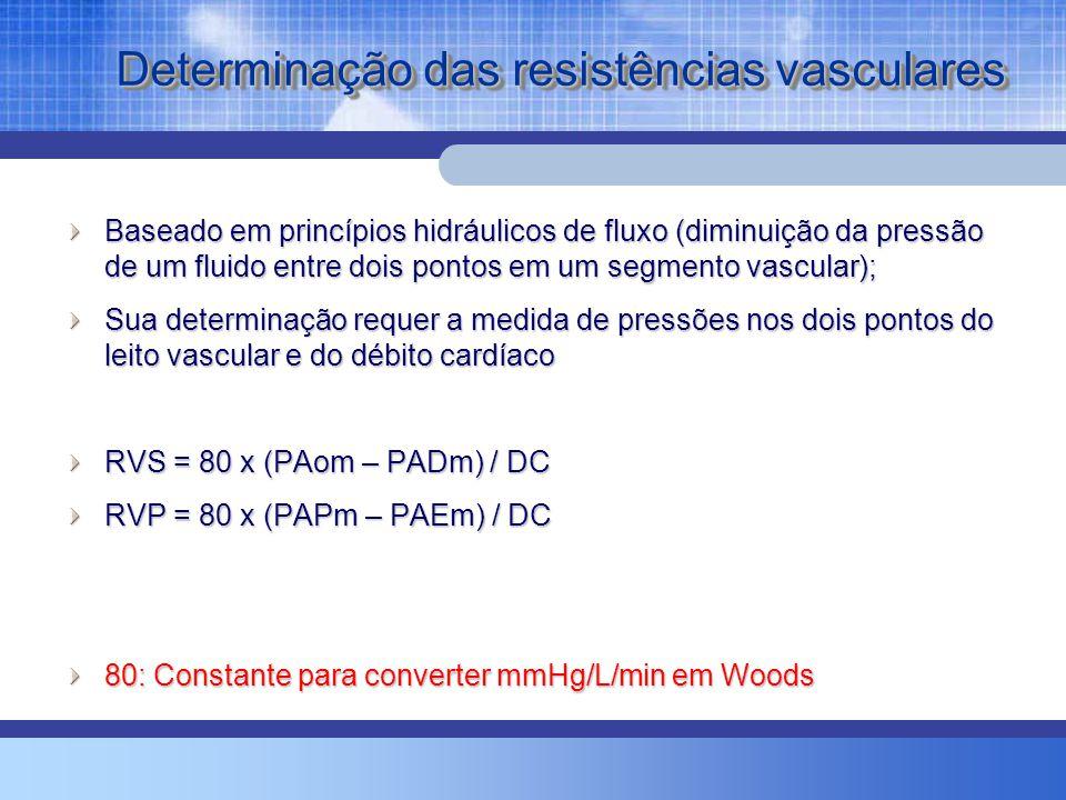 Determinação das resistências vasculares Baseado em princípios hidráulicos de fluxo (diminuição da pressão de um fluido entre dois pontos em um segmen