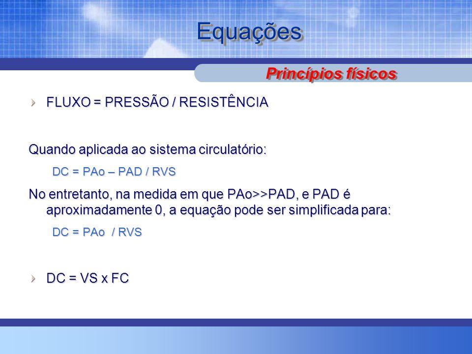 EquaçõesEquações FLUXO = PRESSÃO / RESISTÊNCIA Quando aplicada ao sistema circulatório: DC = PAo – PAD / RVS No entretanto, na medida em que PAo>>PAD, e PAD é aproximadamente 0, a equação pode ser simplificada para: DC = PAo / RVS DC = VS x FC Princípios físicos