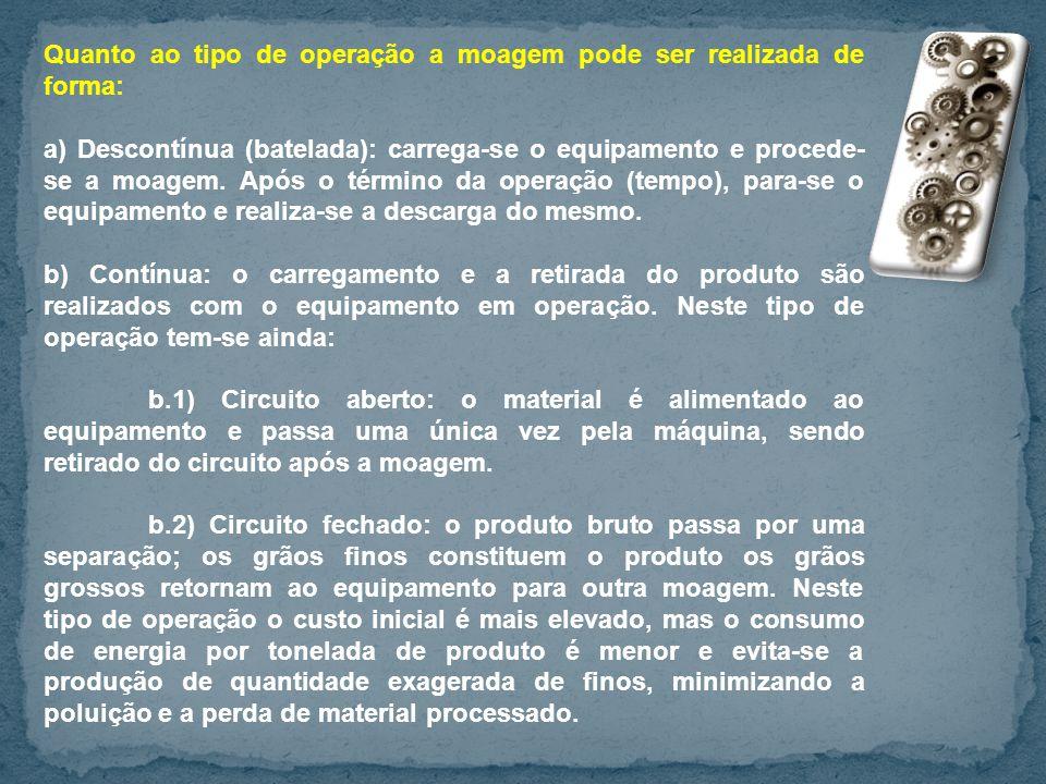 Quanto ao tipo de operação a moagem pode ser realizada de forma: a) Descontínua (batelada): carrega-se o equipamento e procede- se a moagem. Após o té