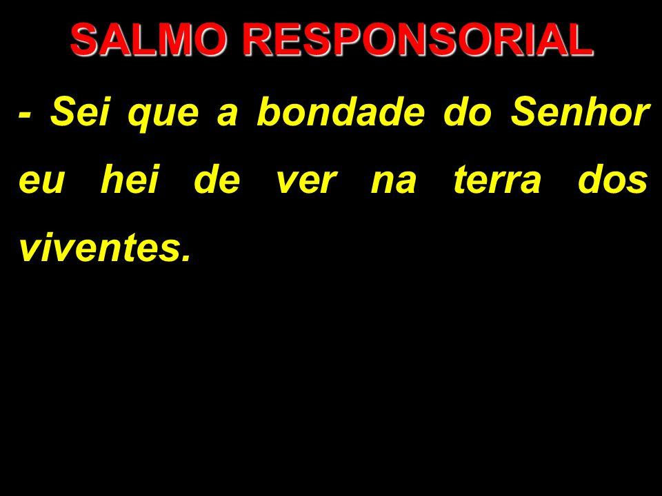 SALMO RESPONSORIAL - Sei que a bondade do Senhor eu hei de ver na terra dos viventes.