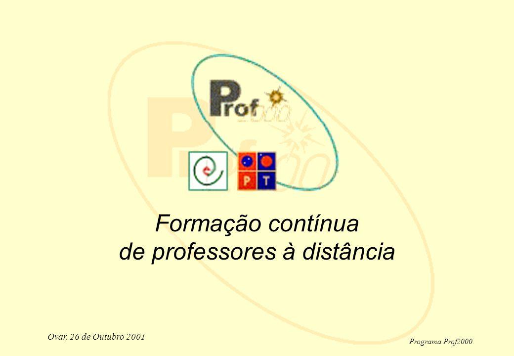 Programa Prof2000 Ovar, 26 de Outubro 2001 Formação contínua de professores à distância