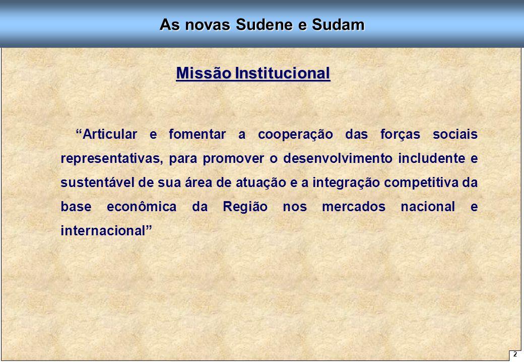 """2 Proposta de Arquitetura Organizacional - SUDENE """"Articular e fomentar a cooperação das forças sociais representativas, para promover o desenvolvimen"""