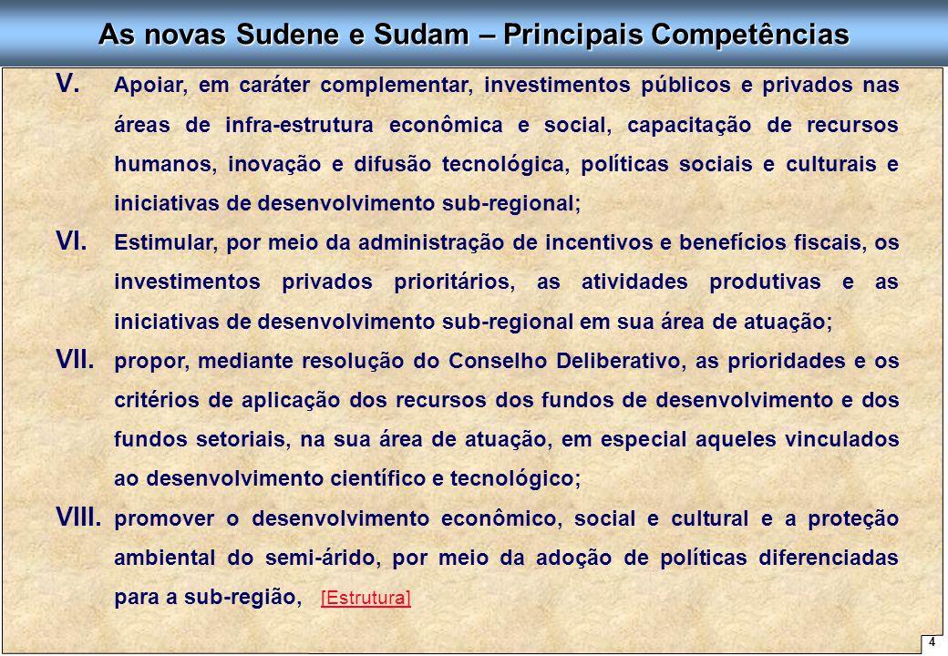 4 Proposta de Arquitetura Organizacional - SUDENE As novas Sudene e Sudam – Principais Competências V. V. Apoiar, em caráter complementar, investiment