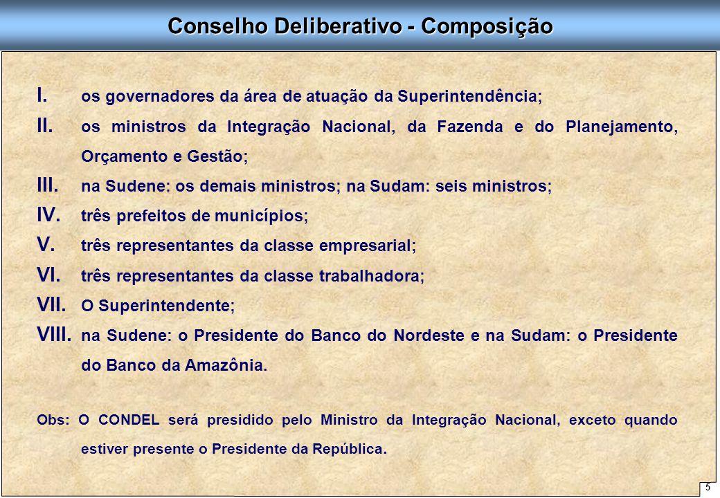 5 Proposta de Arquitetura Organizacional - SUDENE Conselho Deliberativo - Composição I. I. os governadores da área de atuação da Superintendência; II.