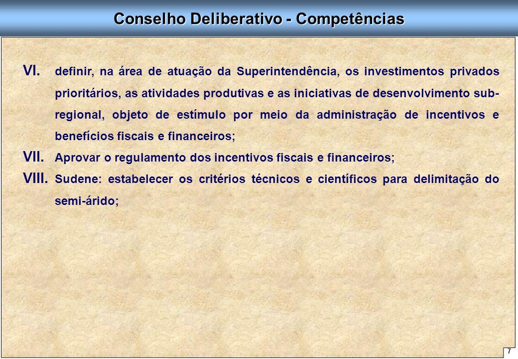 7 Proposta de Arquitetura Organizacional - SUDENE Conselho Deliberativo - Competências VI. VI. definir, na área de atuação da Superintendência, os inv
