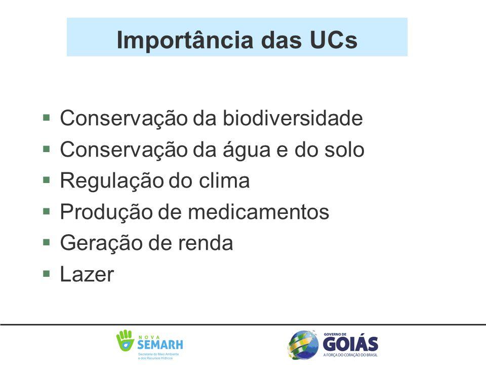 Importância das UCs §Conservação da biodiversidade §Conservação da água e do solo §Regulação do clima §Produção de medicamentos §Geração de renda §Laz