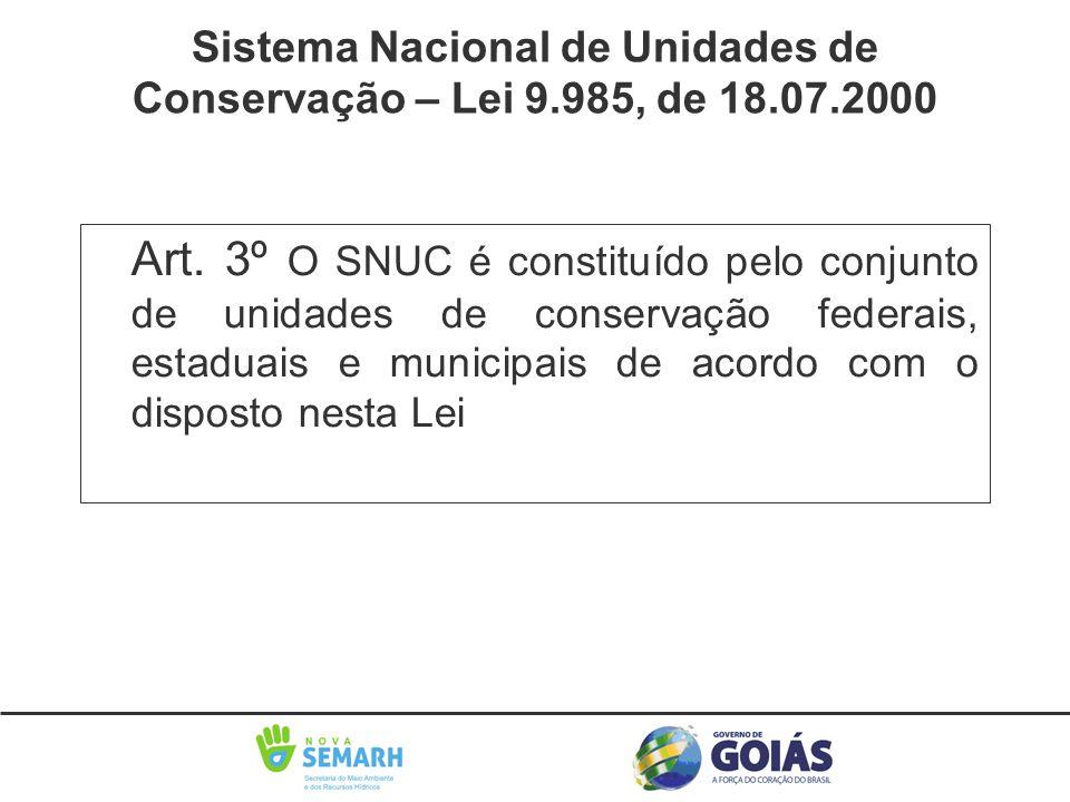 Art. 3º O SNUC é constituído pelo conjunto de unidades de conservação federais, estaduais e municipais de acordo com o disposto nesta Lei Sistema Naci