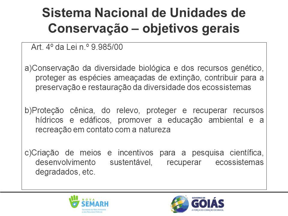 Art. 4º da Lei n.º 9.985/00 a)Conservação da diversidade biológica e dos recursos genético, proteger as espécies ameaçadas de extinção, contribuir par