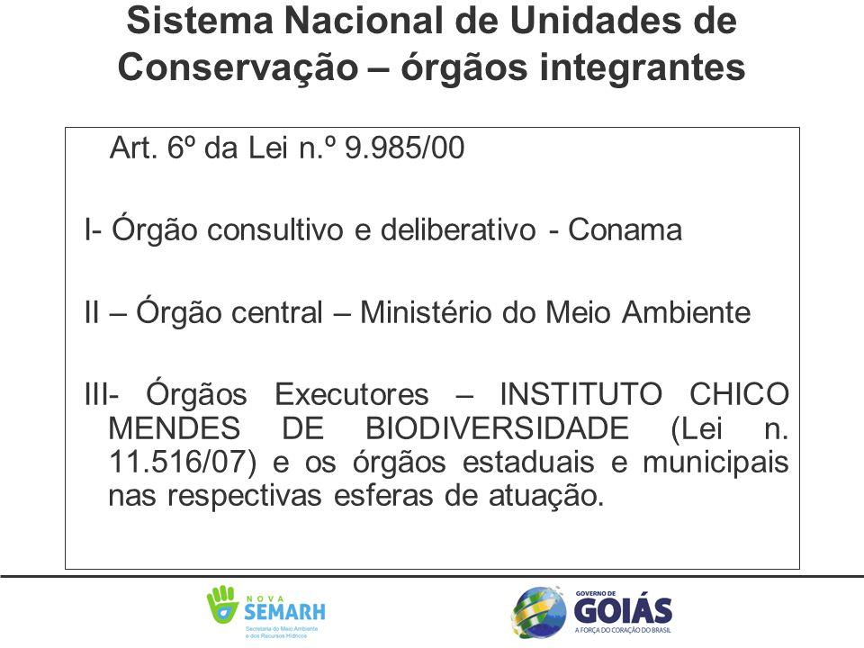 Art. 6º da Lei n.º 9.985/00 I- Órgão consultivo e deliberativo - Conama II – Órgão central – Ministério do Meio Ambiente III- Órgãos Executores – INST