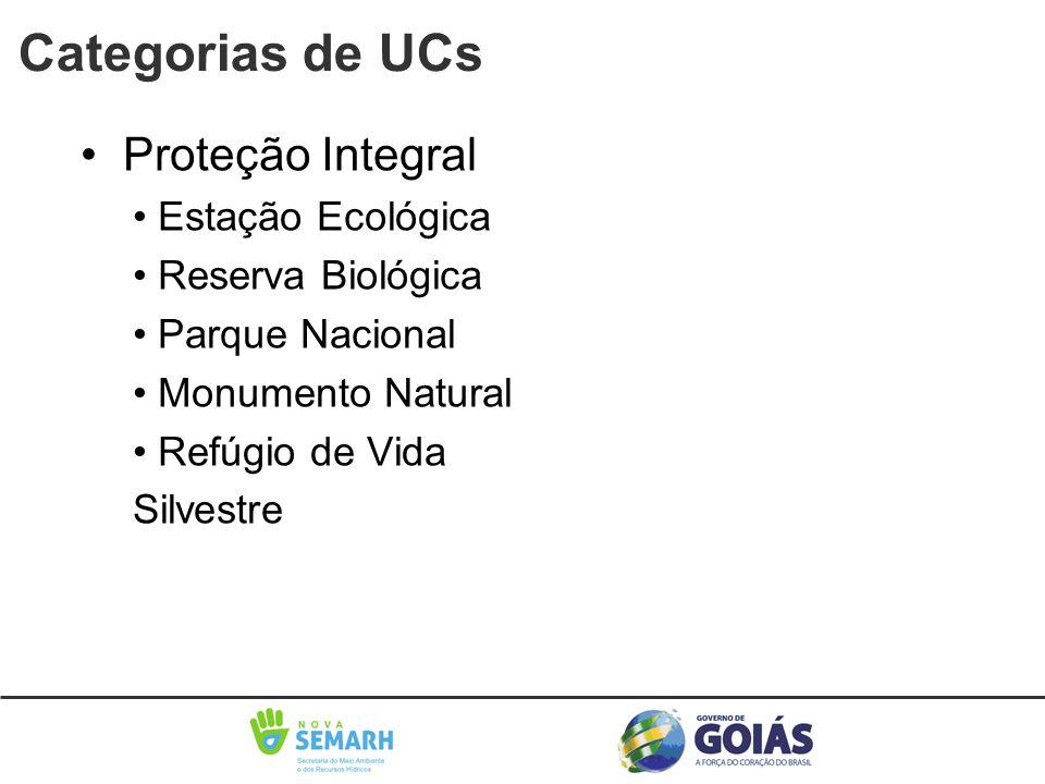 Categorias de UCs • Proteção Integral • Estação Ecológica • Reserva Biológica • Parque Nacional • Monumento Natural • Refúgio de Vida Silvestre