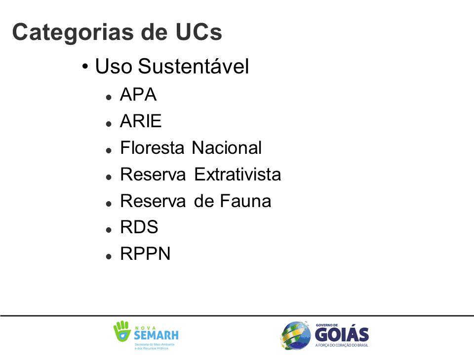 • Uso Sustentável l APA l ARIE l Floresta Nacional l Reserva Extrativista l Reserva de Fauna l RDS l RPPN Categorias de UCs
