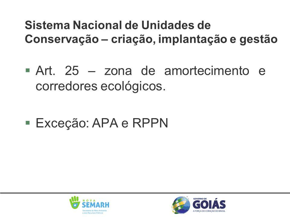 §Art. 25 – zona de amortecimento e corredores ecológicos. §Exceção: APA e RPPN Sistema Nacional de Unidades de Conservação – criação, implantação e ge