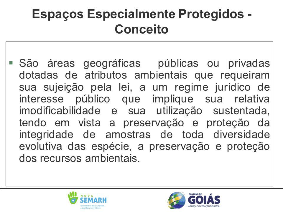 §São áreas geográficas públicas ou privadas dotadas de atributos ambientais que requeiram sua sujeição pela lei, a um regime jurídico de interesse púb