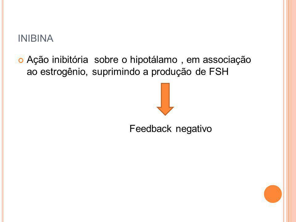 INIBINA Ação inibitória sobre o hipotálamo, em associação ao estrogênio, suprimindo a produção de FSH Feedback negativo