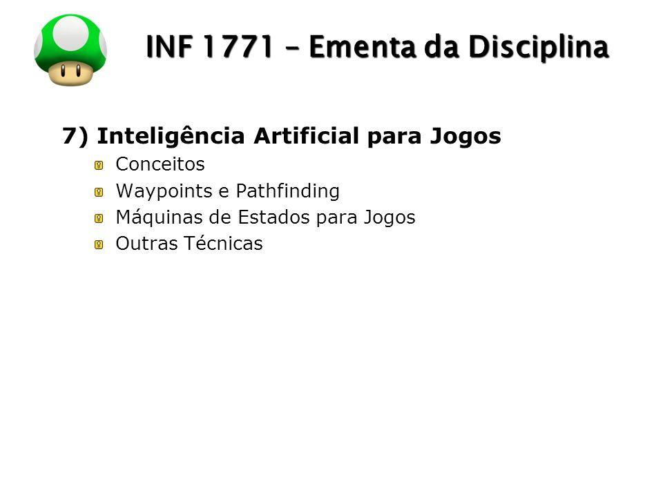 LOGO INF 1771 – Ementa da Disciplina 7) Inteligência Artificial para Jogos Conceitos Waypoints e Pathfinding Máquinas de Estados para Jogos Outras Téc