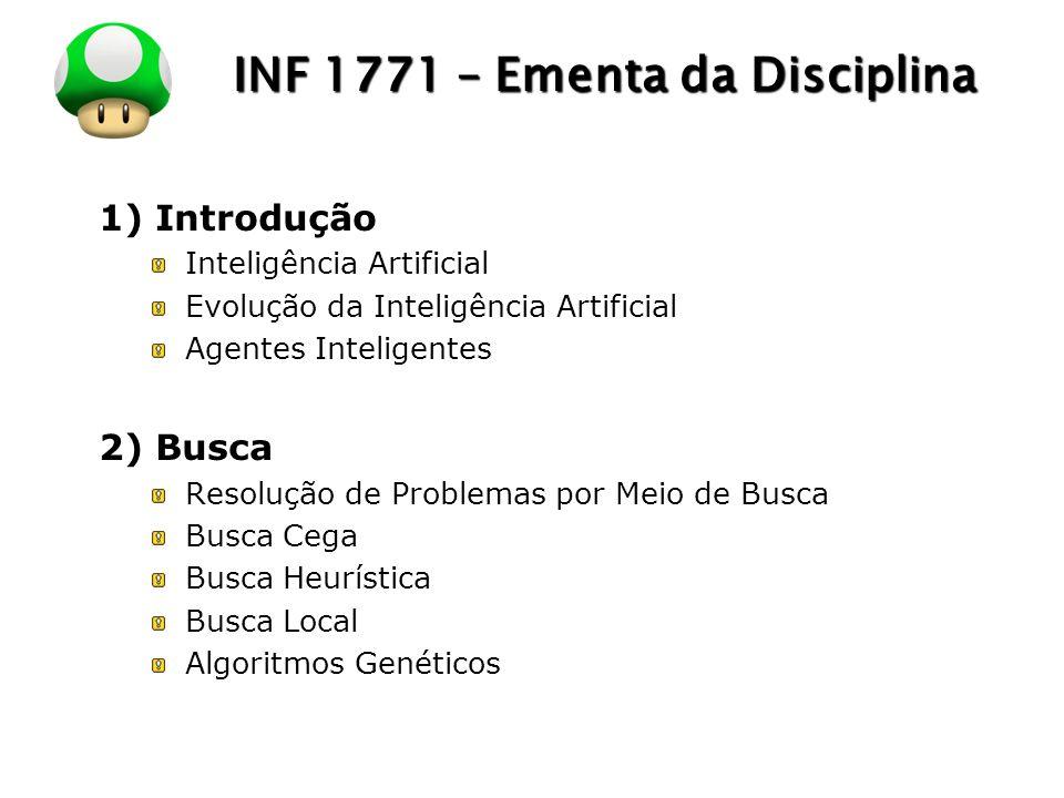 LOGO INF 1771 – Ementa da Disciplina 1) Introdução Inteligência Artificial Evolução da Inteligência Artificial Agentes Inteligentes 2) Busca Resolução