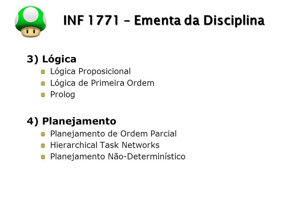 LOGO INF 1771 – Ementa da Disciplina 3) Lógica Lógica Proposicional Lógica de Primeira Ordem Prolog 4) Planejamento Planejamento de Ordem Parcial Hier