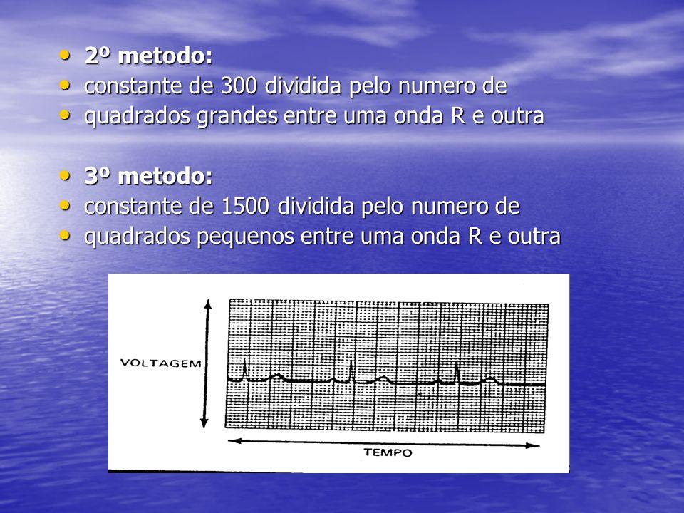 • 2º metodo: • constante de 300 dividida pelo numero de • quadrados grandes entre uma onda R e outra • 3º metodo: • constante de 1500 dividida pelo nu