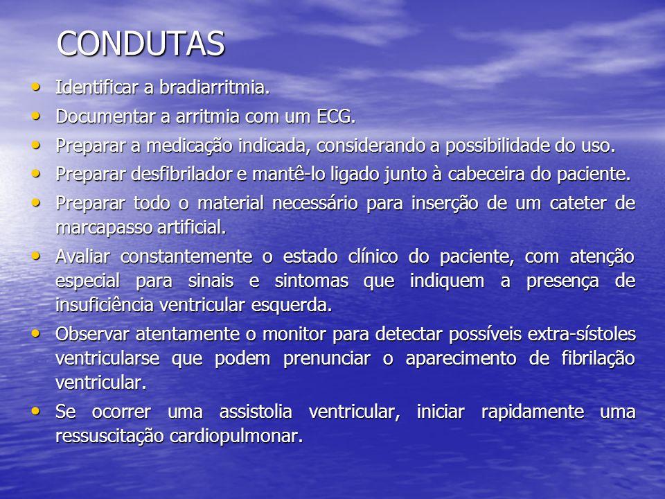CONDUTAS • Identificar a bradiarritmia. • Documentar a arritmia com um ECG. • Preparar a medicação indicada, considerando a possibilidade do uso. • Pr