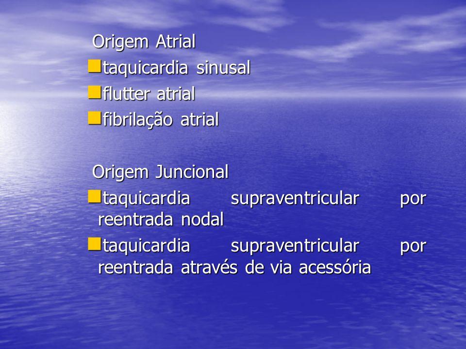 Origem Atrial Origem Atrial  taquicardia sinusal  flutter atrial  fibrilação atrial Origem Juncional Origem Juncional  taquicardia supraventricula