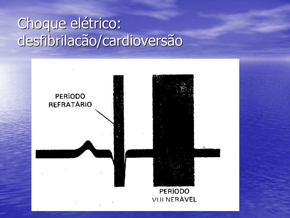 Choque elétrico: desfibrilacão/cardioversão