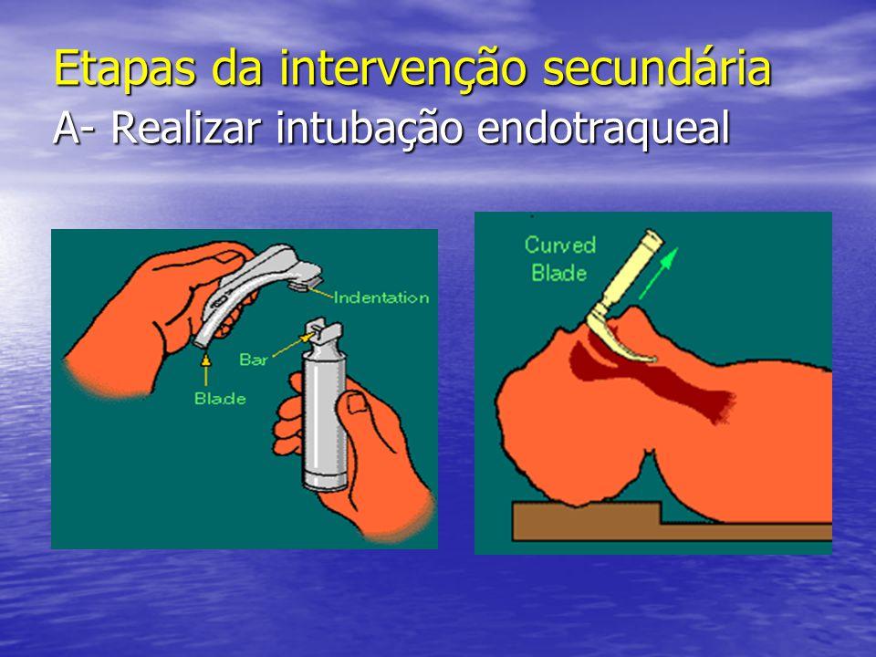 Etapas da intervenção secundária A- Realizar intubação endotraqueal