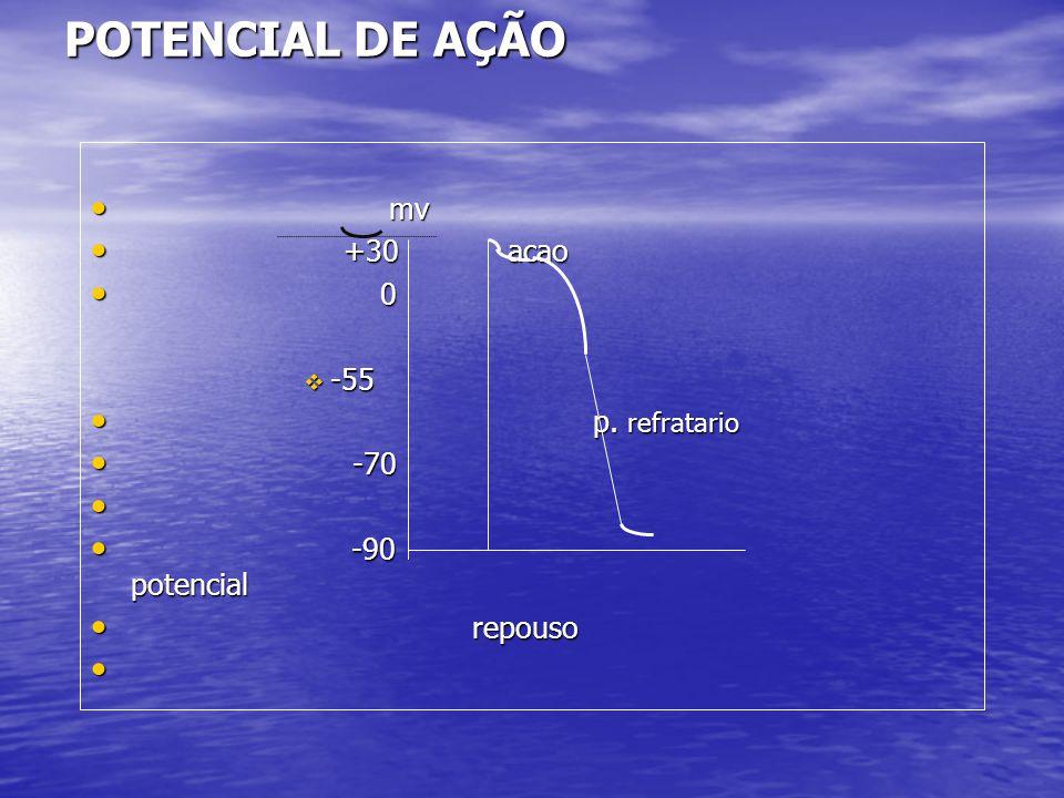 POTENCIAL DE AÇÃO • mv • +30 acao • 0  -55 • p. refratario • -70 • • -90 potencial • repouso •