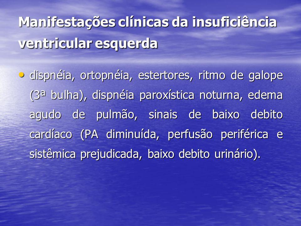 Manifestações clínicas da insuficiência ventricular esquerda • dispnéia, ortopnéia, estertores, ritmo de galope (3ª bulha), dispnéia paroxística noturna, edema agudo de pulmão, sinais de baixo debito cardíaco (PA diminuída, perfusão periférica e sistêmica prejudicada, baixo debito urinário).