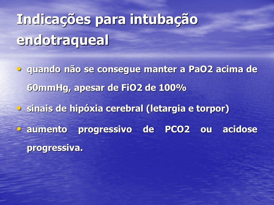 Indicações para intubação endotraqueal • quando não se consegue manter a PaO2 acima de 60mmHg, apesar de FiO2 de 100% • sinais de hipóxia cerebral (letargia e torpor) • aumento progressivo de PCO2 ou acidose progressiva.