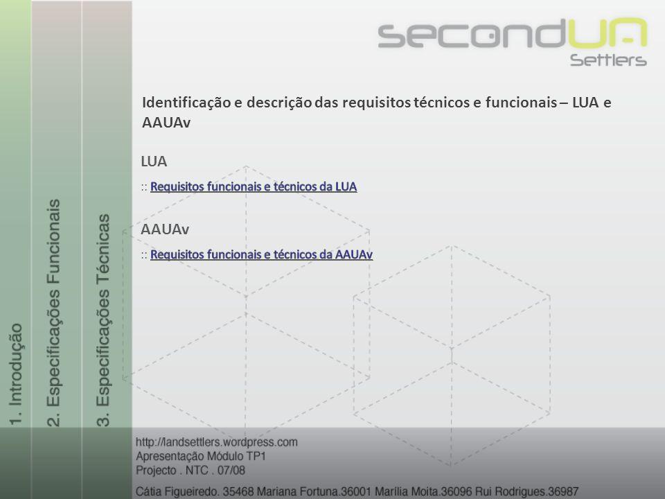 Identificação e descrição das requisitos técnicos e funcionais – LUA e AAUAv