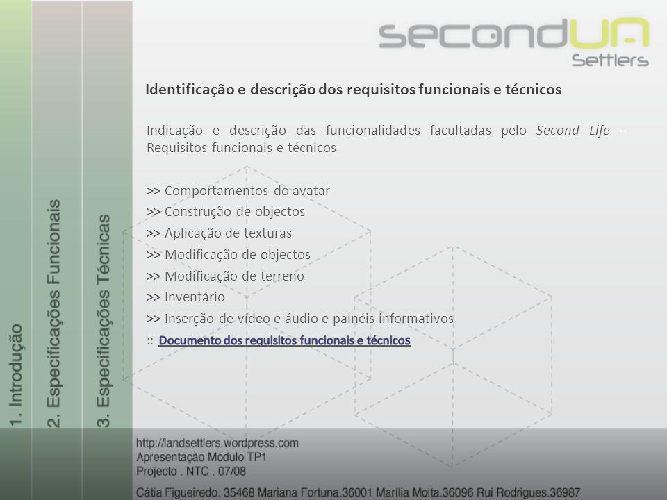 Identificação e descrição dos requisitos funcionais e técnicos