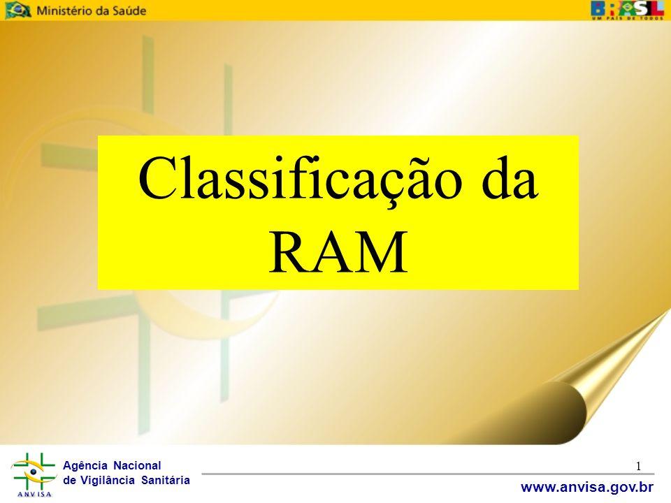 Agência Nacional de Vigilância Sanitária www.anvisa.gov.br 1 Classificação da RAM