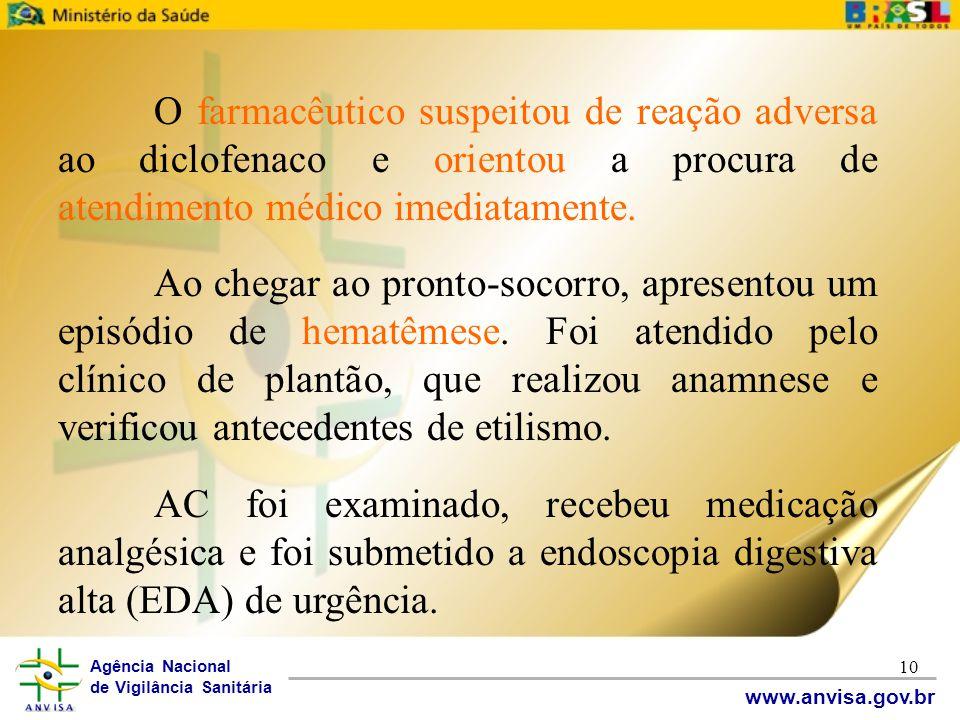 Agência Nacional de Vigilância Sanitária www.anvisa.gov.br 10 O farmacêutico suspeitou de reação adversa ao diclofenaco e orientou a procura de atendi