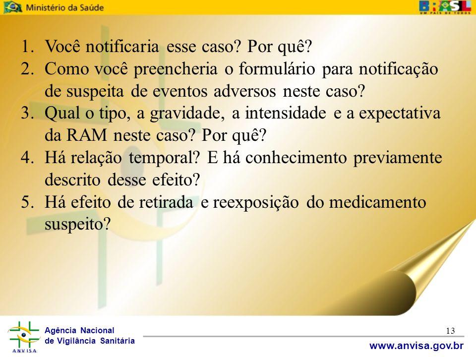 Agência Nacional de Vigilância Sanitária www.anvisa.gov.br 13 1.Você notificaria esse caso? Por quê? 2.Como você preencheria o formulário para notific