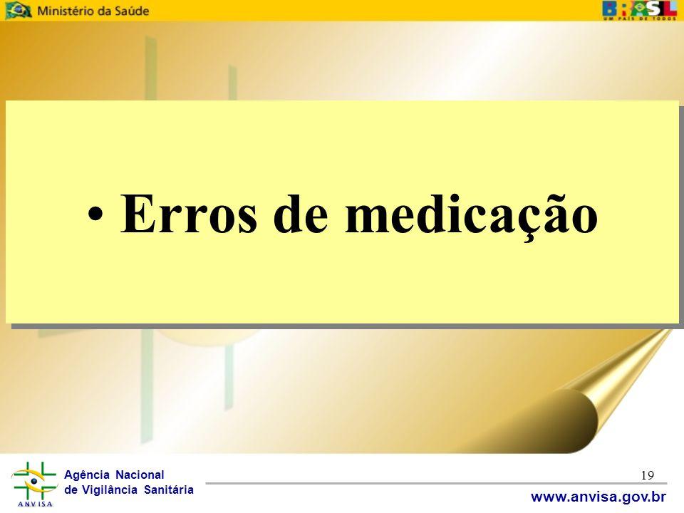 Agência Nacional de Vigilância Sanitária www.anvisa.gov.br 19 • Erros de medicação
