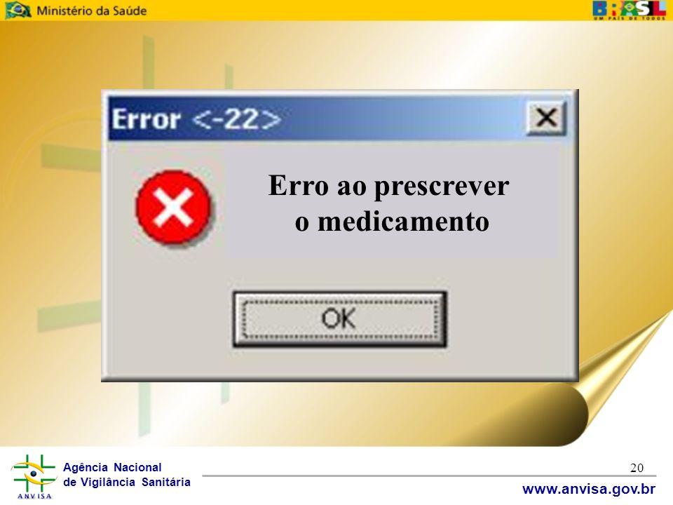 Agência Nacional de Vigilância Sanitária www.anvisa.gov.br 20 Erro ao prescrever o medicamento
