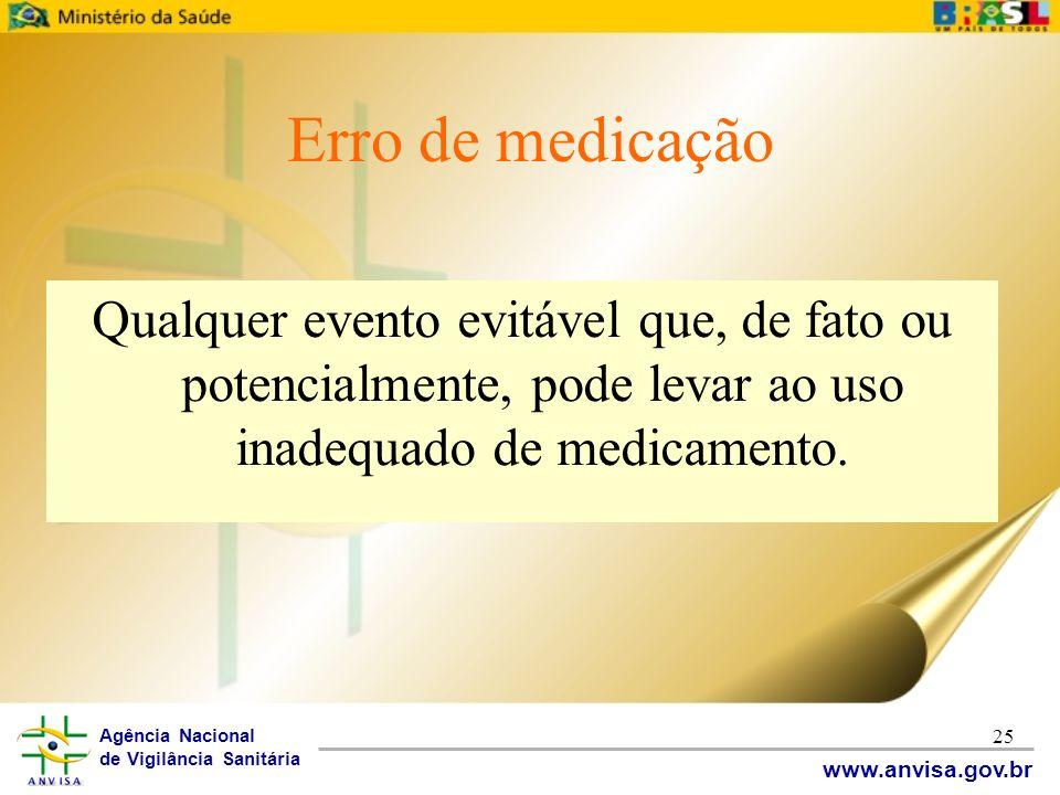 Agência Nacional de Vigilância Sanitária www.anvisa.gov.br 25 Erro de medicação Qualquer evento evitável que, de fato ou potencialmente, pode levar ao