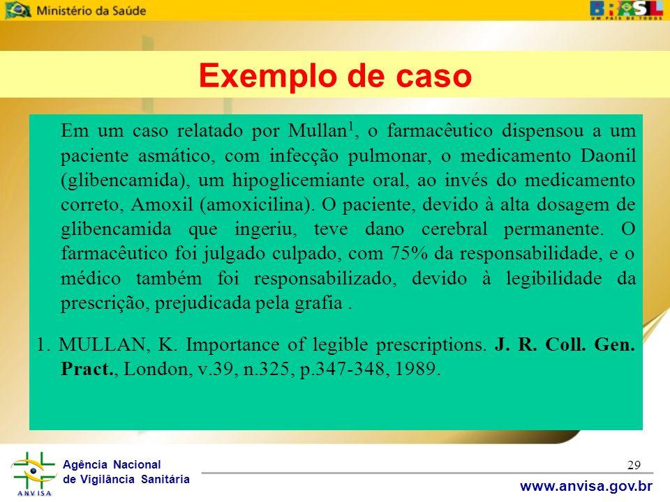 Agência Nacional de Vigilância Sanitária www.anvisa.gov.br 29 Em um caso relatado por Mullan 1, o farmacêutico dispensou a um paciente asmático, com i