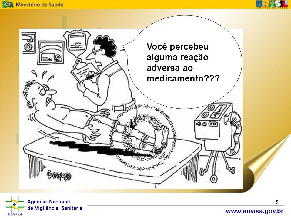 Agência Nacional de Vigilância Sanitária www.anvisa.gov.br 5 Você percebeu alguma reação adversa ao medicamento???