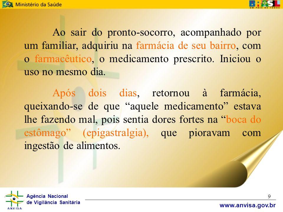 Agência Nacional de Vigilância Sanitária www.anvisa.gov.br 9 Ao sair do pronto-socorro, acompanhado por um familiar, adquiriu na farmácia de seu bairr